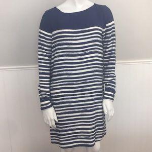 Vince Market Stripe Silk Dress Long Sleeve Shift